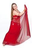 rött traditionellt för dansareklänning Arkivfoto