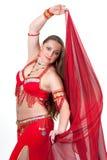 rött traditionellt för dansareklänning Royaltyfri Bild