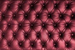Rött tuffted läder med knappar Royaltyfri Fotografi