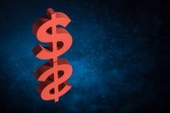 Rött USA-valutasymbol eller tecken med spegelreflexion på blåa Dusty Background arkivbild
