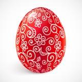 Rött utsmyckat vektoreaster ägg stock illustrationer
