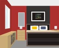 Rött väggsovrum Vektor Illustrationer