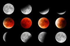 Rött vända för måne arkivfoto