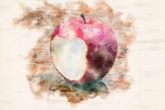 Rött vått äpple med en tugga på trätabellen royaltyfri illustrationer