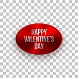 Rött valentinemblem med hälsningtext Fotografering för Bildbyråer