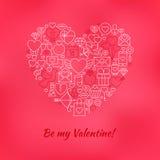 Rött var min Valentine Line Icons Set Heart Shape Arkivbilder