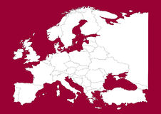 rött vectorial för Europa översikt vektor illustrationer