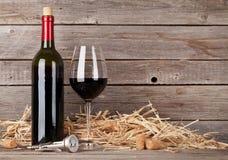 Rött vin buteljerar och wineexponeringsglas Arkivfoto