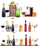 Rött vin champagne, öl, alkoholcoctail Royaltyfria Foton