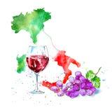 Rött vin, exponeringsglas, druvor och översikt av Italien Bild av en alkoholdryck vektor illustrationer