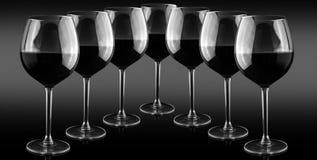 rött vin för alkoholstångexponeringsglas Royaltyfri Fotografi