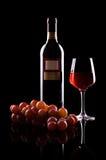 rött vin för flaskexponeringsglas Arkivbild