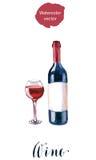rött vin för flaskexponeringsglas Arkivbilder