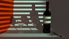 Rött vin i aftonen, en flaska av rött vin vektor illustrationer