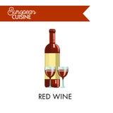 Rött vin i flaska och exponeringsglas från europeisk kokkonst vektor illustrationer