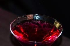 Rött vin i vinexponeringsglas Arkivbild