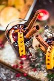 Rött vin med kryddor, anis och kanel Royaltyfri Fotografi