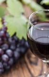 Rött vin med nya druvor Arkivbild