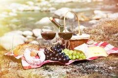 Rött vin, ost och druvor tjänade som på en picknick Royaltyfri Fotografi