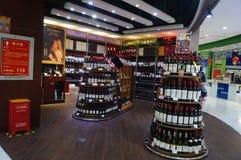 Rött vin shoppar Arkivbild