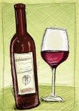 Rött vin skissar Arkivfoto