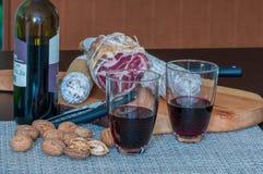Rött vin, valnötter och salami fotografering för bildbyråer