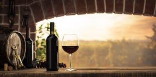 Rött vinavsmakning i källaren arkivfoton