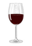 Rött vinexponeringsglas i tappninggravyrstil Royaltyfri Foto