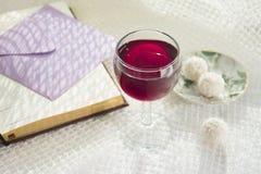 Rött vinexponeringsglas och öppnar boken på vit bakgrund Royaltyfria Bilder
