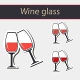 Rött vinexponeringsglas plaskar Arkivfoton