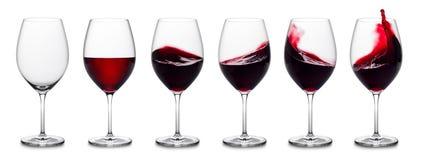 Rött vinfärgstänksamling Fotografering för Bildbyråer