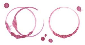 Rött vinfläckar ringer spårar från exponeringsglas och några klickar vektor illustrationer