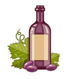 Rött vinflaska med druvor och det gröna bladet Royaltyfria Foton