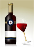 Rött vinflaska med exponeringsglas Royaltyfria Foton