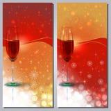 Rött vinhälsningkort Arkivfoto