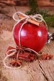 Rött vinteräpple med kanelbruna pinnar och anis Arkivfoton