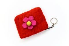 rött vitt woolen för handväska Royaltyfri Bild