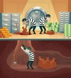 Röveri för vektorbankvalv av tjuvar, brottslingar stock illustrationer