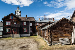 Typical Røros houses with church, Norway Royalty Free Stock Photos