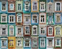 Rússia As janelas da cidade Borovsk Imagem de Stock Royalty Free