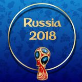 Rússia azul fundo do futebol de 2018 campeonatos do mundo ilustração do vetor