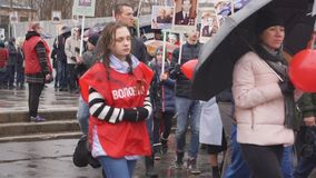 Rússia Berezniki pode 9, 2018: Regimento imortal em Victory Day filme