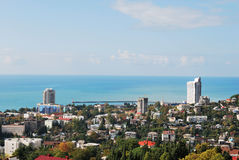 Rússia. Cáucaso. Sochi. Vista na cidade da parte superior Imagens de Stock