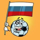 Rússia 2018 campeonatos do mundo Bandeira de país Bola de futebol do futebol engraçado ilustração stock