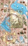 RÚSSIA - CERCA DE 2012: O selo impresso em Rússia dedicou o 1150th aniversário de Izborsk Fotografia de Stock Royalty Free