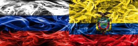 Rússia contra as bandeiras do fumo de Equador colocadas de lado a lado ilustração stock