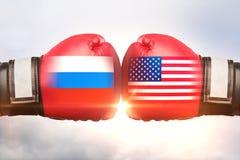 Rússia contra o conceito dos EUA imagens de stock