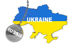 Rússia destrói o conceito de Ucrânia ilustração do vetor