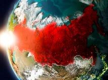 Rússia durante o por do sol na terra ilustração do vetor