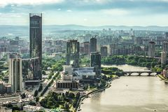 Rússia Ekaterinburg Margem da cidade da vista Fotos de Stock